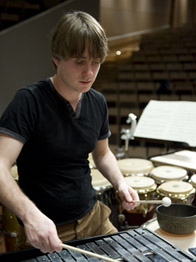 Alex Petcu playing percussion